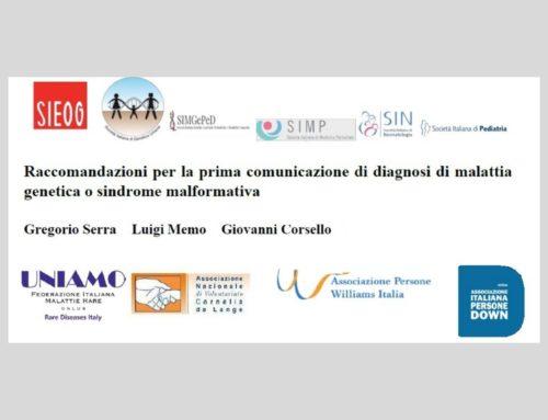 Raccomandazioni per la prima comunicazione di diagnosi di malattia genetica o sindrome malformativa