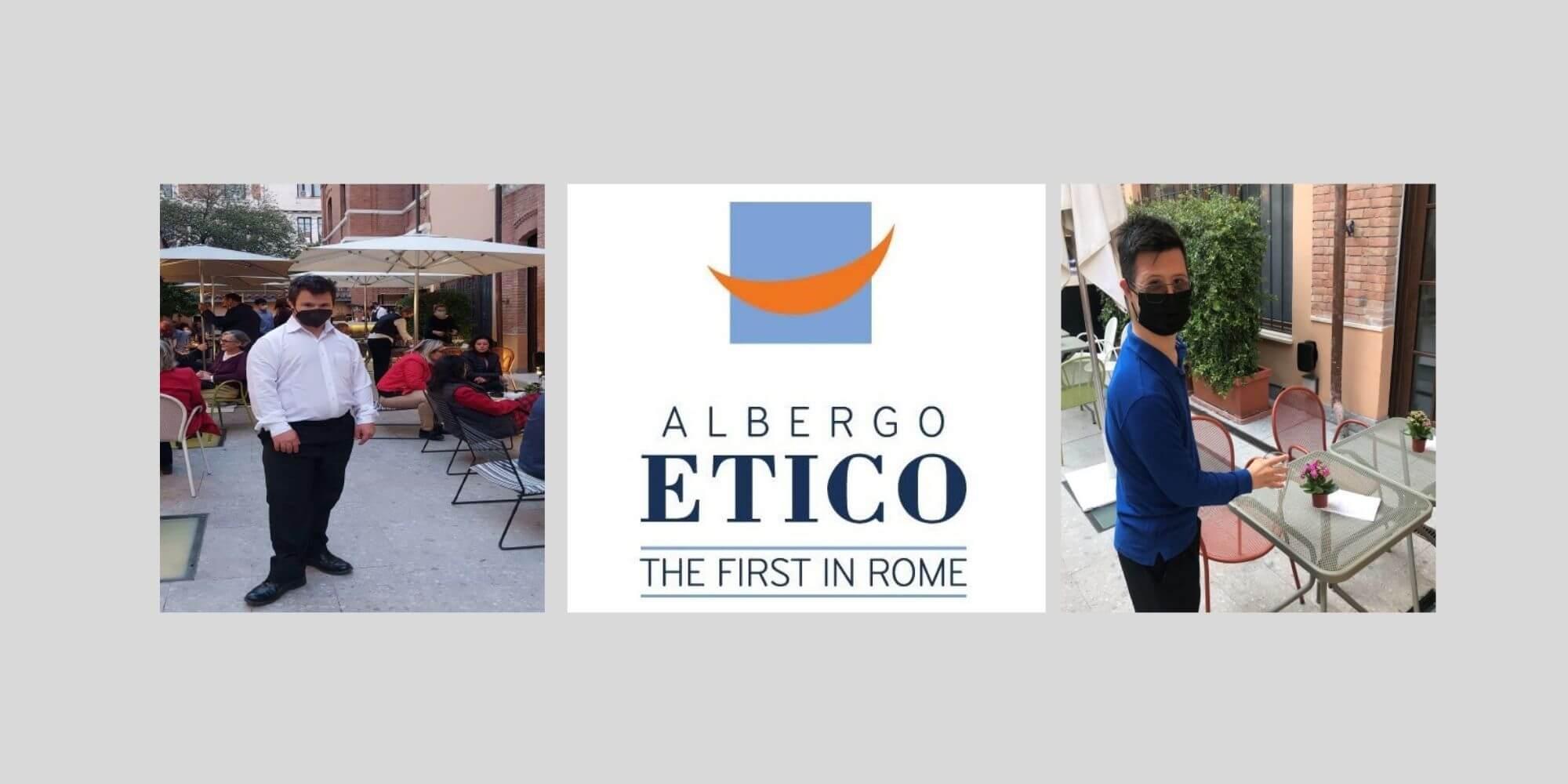 logo Albergo Etico Roma e due giovani con sindrome di Down al servizio esterno