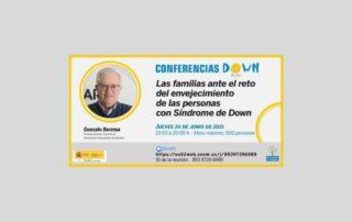 Locandina incontro online Down Espana 25 giugno21 sull'invecchiamento delle persone con sindrome di Down